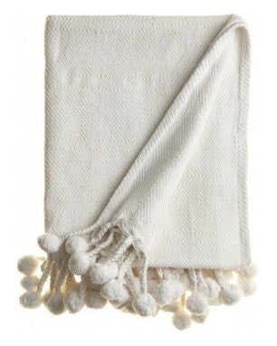 Pom Pom Throw in Bright White - Hattan Home - 1