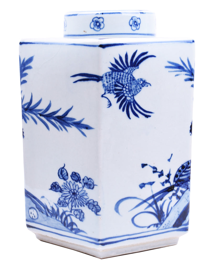 Blue & White Hexagonal Tea Jar - Hattan Home - 2