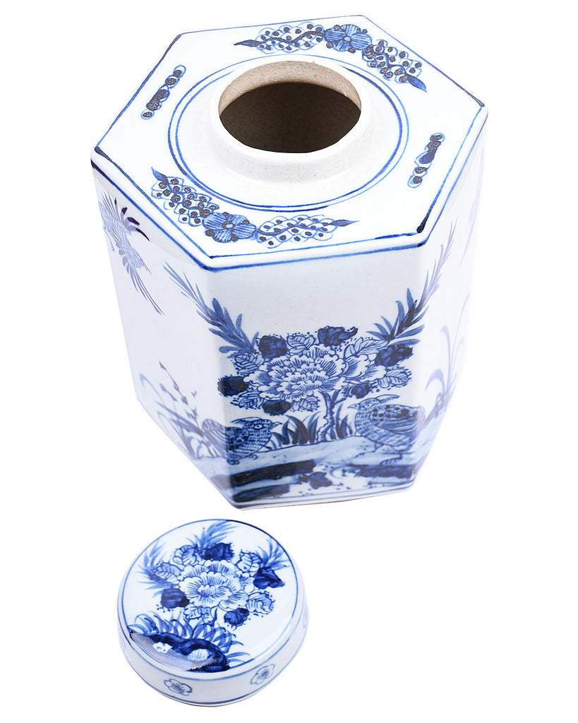 Blue & White Hexagonal Tea Jar
