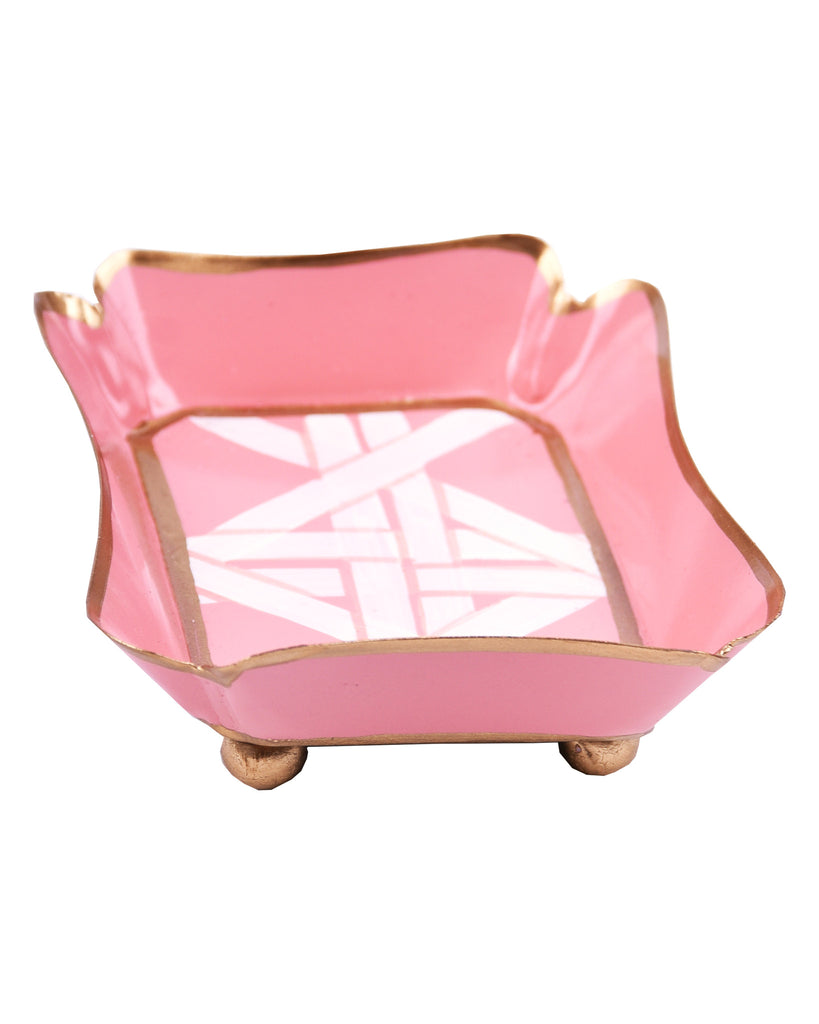 Tole Coral Cane Trinket Tray - Hattan Home - 1