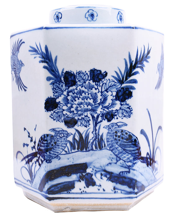 Blue & White Hexagonal Tea Jar - Hattan Home - 1