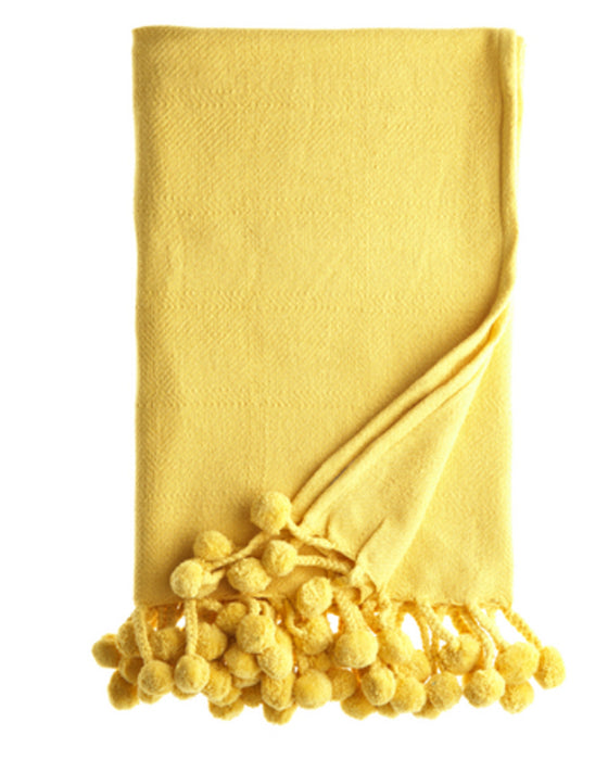 Yellow Pom Pom Throw
