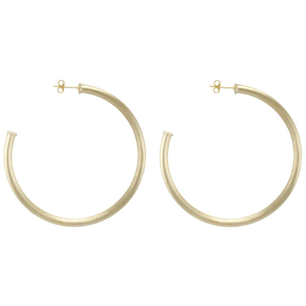 Sheila Fajl Everybody's Favorite Brushed Gold Hoops - Hattan Home - 2