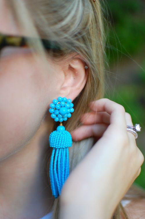 Lisi Lerch Tassel Earrings in Turquoise - Hattan Home - 3