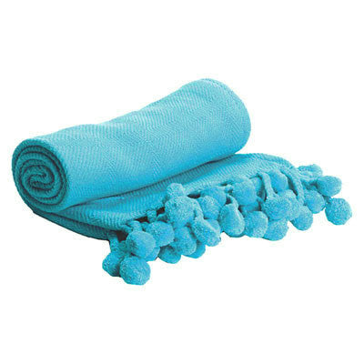 Pom Pom Throw in Turquoise - Hattan Home - 6