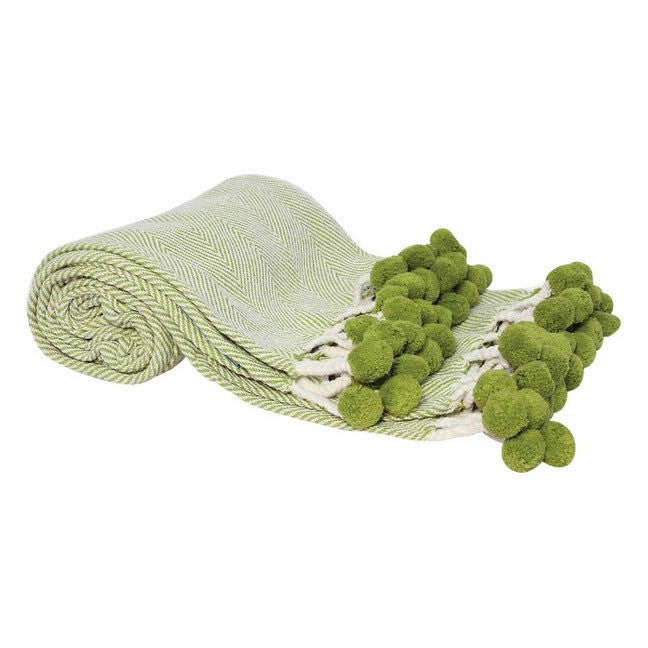 Lime Green Herringbone Pom Pom Throw - Hattan Home - 2