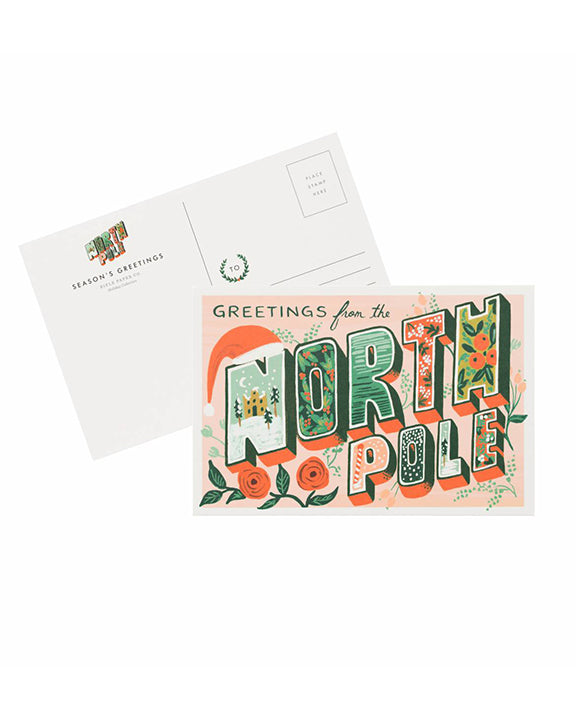 Rifle Paper Greetings From the North Pole Postcards (10 Pack)