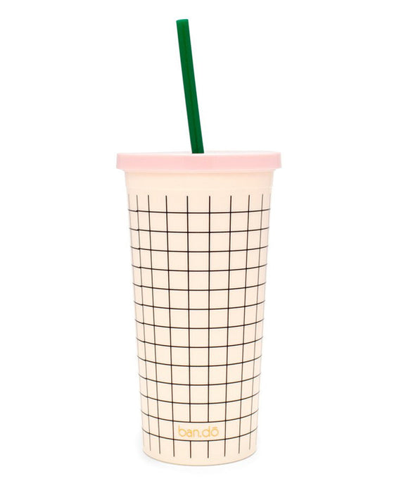 Ban.do Sip Sip Tumbler With Straw - Mini Grid