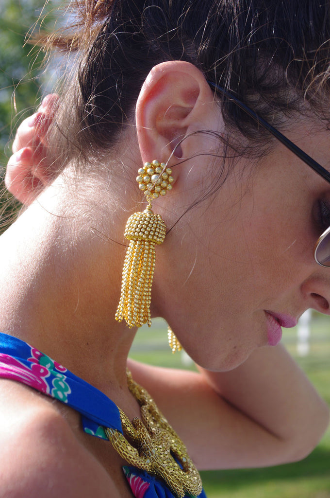 Lisi Lerch Tassel Earrings in Gold - Hattan Home - 7
