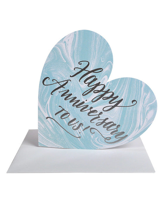 Happy Anniversary Silver Foil Marble Heart Card - Hattan Home - 1