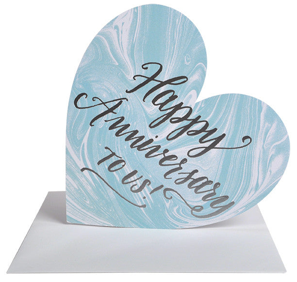 Happy Anniversary Silver Foil Marble Heart Card - Hattan Home - 2