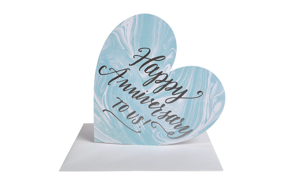 Happy Anniversary Silver Foil Marble Heart Card - Hattan Home - 4