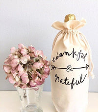 Thankful and Grateful Drawstring Wine Bag
