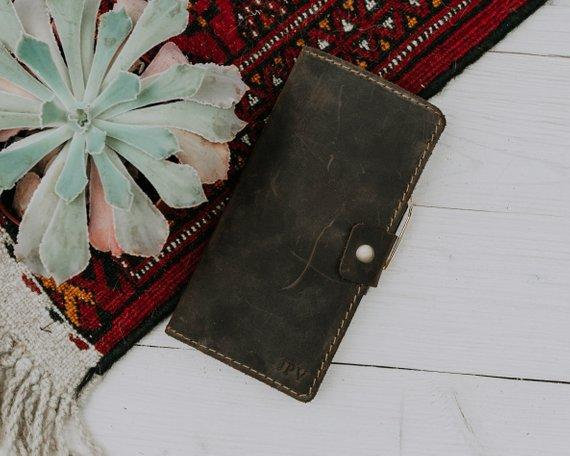Personalized Leather Checkbook Cover