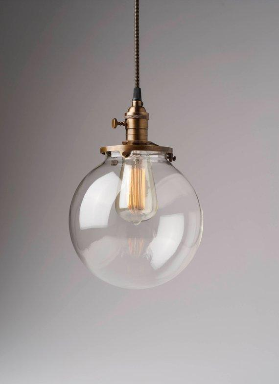 Clear Glass Globe Pendant Light Fixture With 8quot Shade Hand