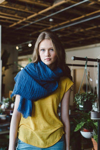 Light Cotton Navy Blanket Scarf