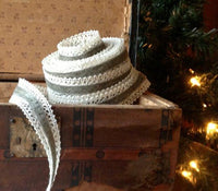 Pewter Velvet & Cream Crochet Ribbon