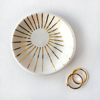 White and Gold Sunburst Ring Dish