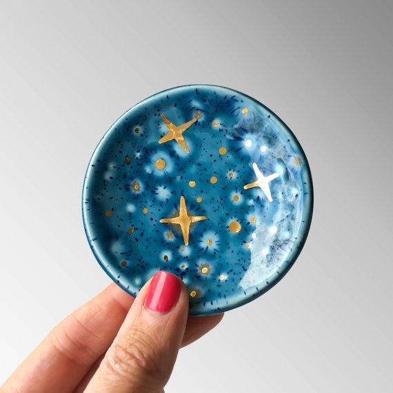 Galaxy Ring Dish with 22k Gold Stars