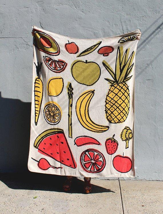 Fruit & Vegetable Knit Throw Blanket