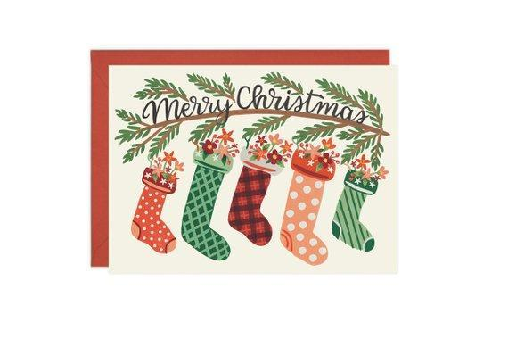 Bloom Stockings Christmas Card