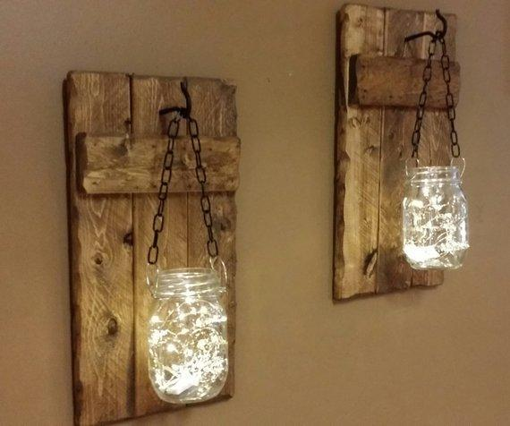 Hanging Jars with Lights Sconces