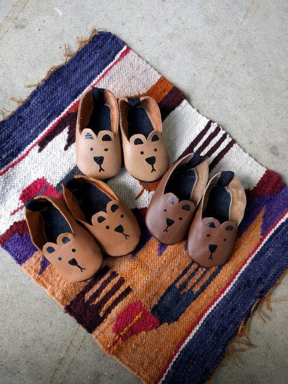 Handmade and Hand Painted Baby Bear Shoes