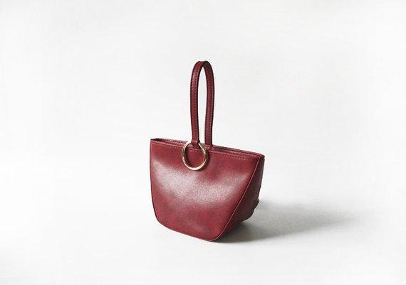 Dark Red Leather Clutch