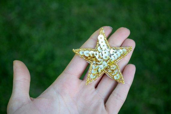 Gold Sequin Star Patches