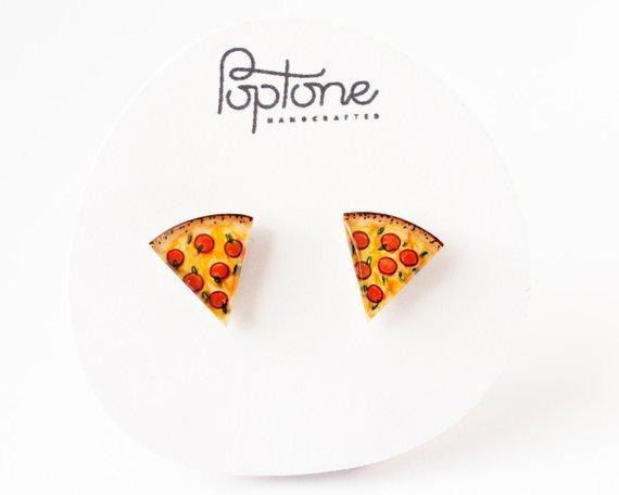 Pepperoni Pizza Stud Earrings