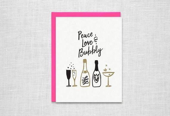 Peace Love and Bubbly Letterpress Holiday Card