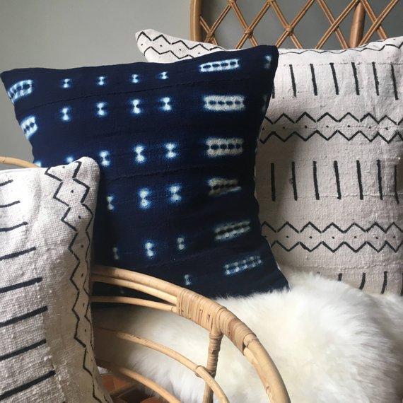 Hand Stitched African Mudcloth Pillow Cover