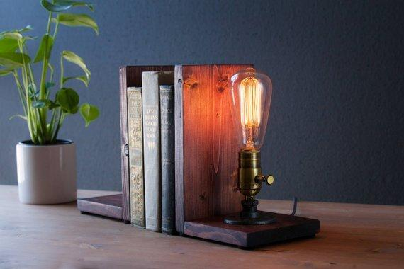 Industrial Bookend Lamp