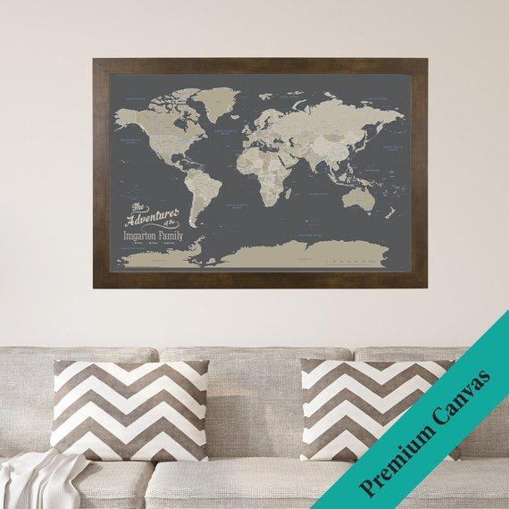 Canvas World Push Pin Map