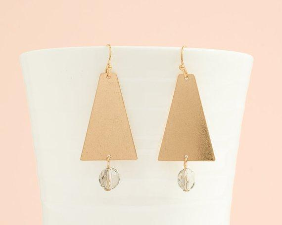 Gold Triangle with Crystal Bead Earrings