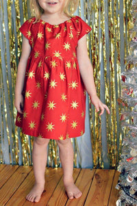 Girl's Red & Gold Stars Dress