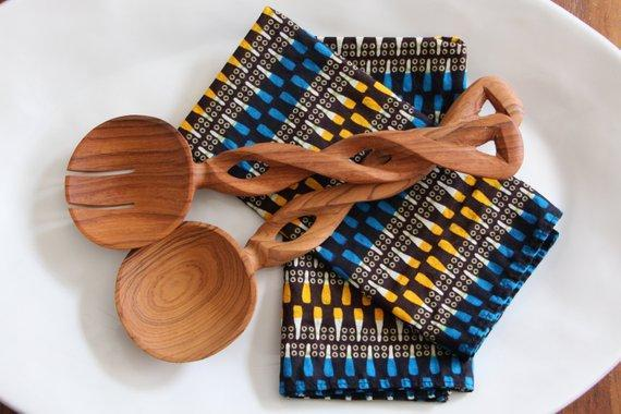 African Olive Wood Salad Servers Holiday Shop By Brit Co X Etsy