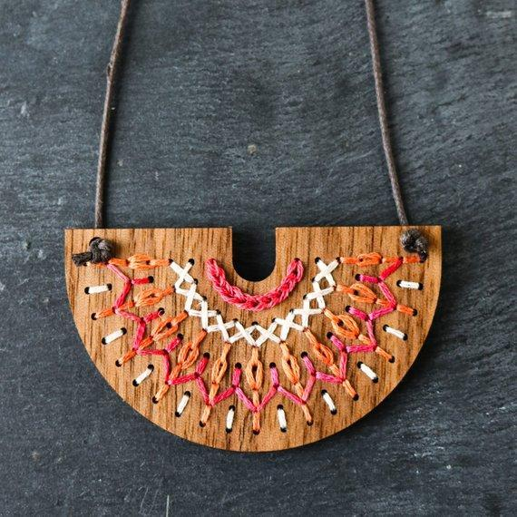DIY Embroidery Wood Necklace