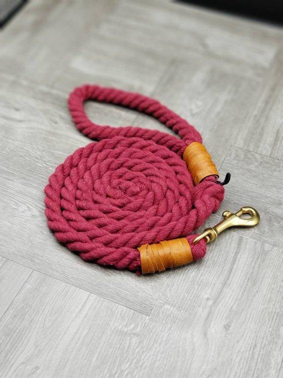 Maroon Cotton Rope Dog Leash