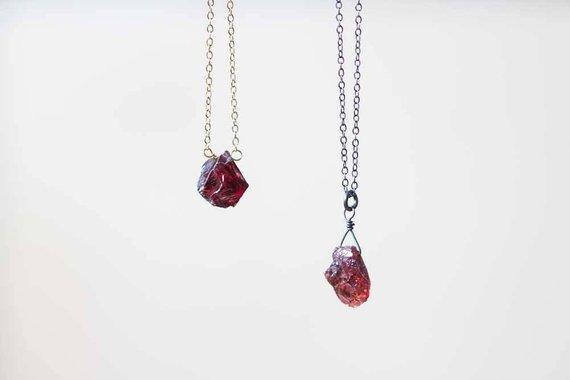 Small Raw Garnet Necklace
