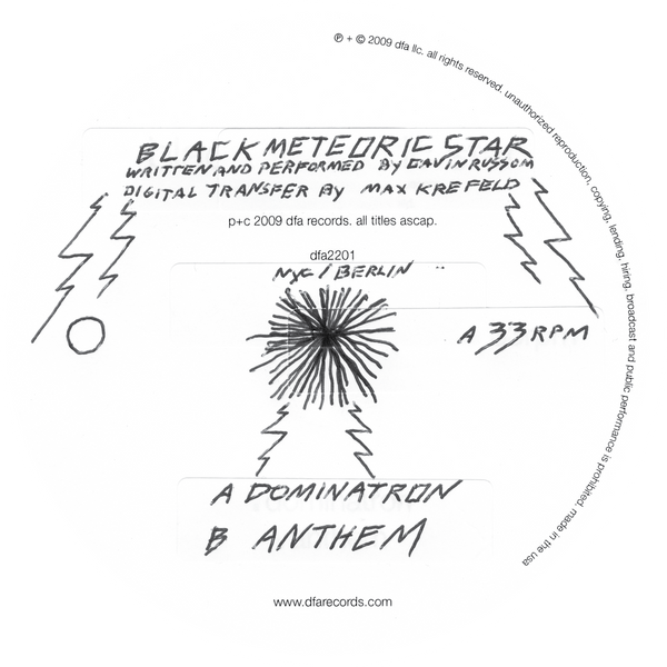 "Black Meteoric Star - Dominatron b/w Anthem 12"" Vinyl"