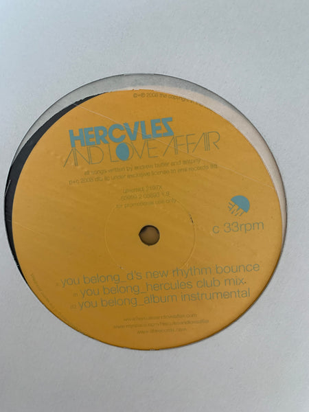 "Hercules & Love Affair - You Belong EMI UK Promo 12"" x 2 Kevin Saunderson & Derrick Carter Remixes!"