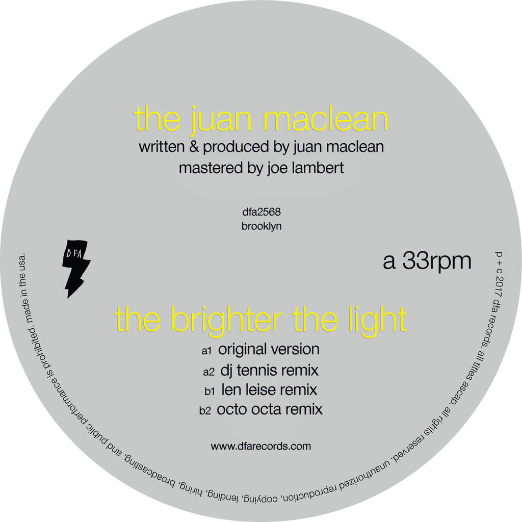 "The Juan Maclean - The Brighter The Light (12"" single)"