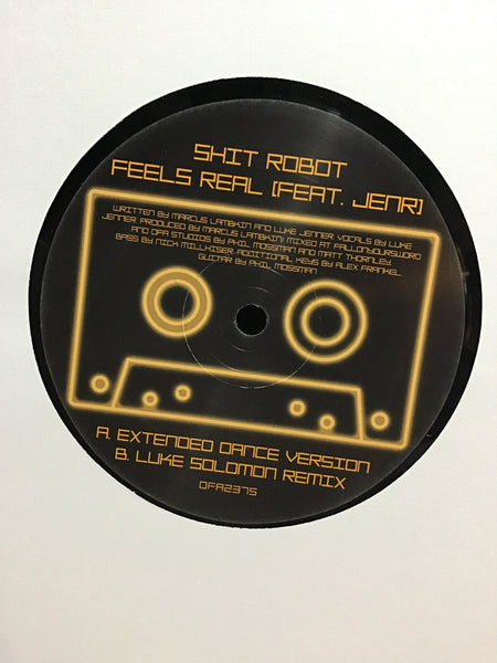 "Shit Robot - Feels Real w/ Luke Jenner of The Rapture on vocals 12"" w/ Spray Painted Sleeve"