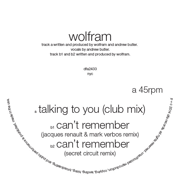 Wolfram - Talking To You (featuring Andrew Butler)