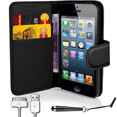 iphone5/5S PU Leather Flip Wallet Case- Black
