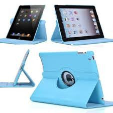 (Sky Blue) 360 Degree Rotating Stand Smart Cover PU Leather Case for Apple iPad 4th Generation Retina Display / the new iPad 3 / iPad 2