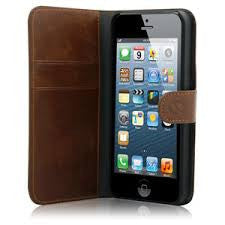 iphone5/5S PU Leather Flip Wallet Case- Brown