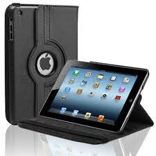 (Black) 360 Degree Rotating Stand Smart Cover PU Leather Case for Apple iPad 4th Generation Retina Display / the new iPad 3 / iPad 2