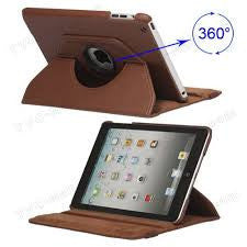 (Brown) 360 Degree Rotating Stand Smart Cover PU Leather Case for Apple iPad 4th Generation Retina Display / the new iPad 3 / iPad 2